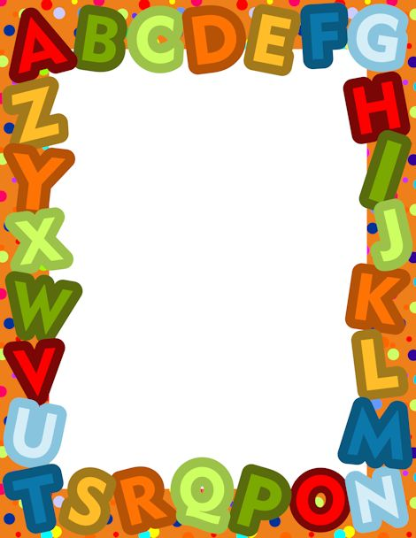 Alphabet people clipart border graphic A border made from the letters of the alphabet in a varied color ... graphic