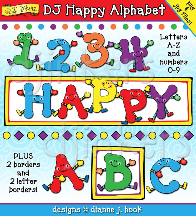 Alphabet people clipart border picture Cute Clip art Alphabet Characters by DJ Inkers - DJ Inkers picture