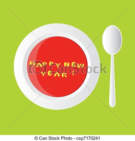 Vector Clip Art of new year soup - happy new year - alphabet soup ... graphic library library