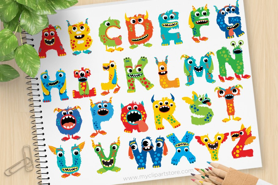 Clipart aplphabet graphic royalty free stock Monsters Alphabet - Vector Clipart graphic royalty free stock