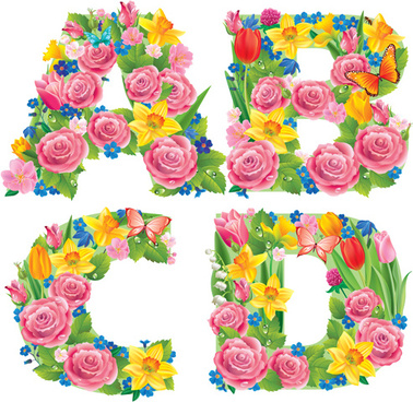 Alphabet with flowers clipart
