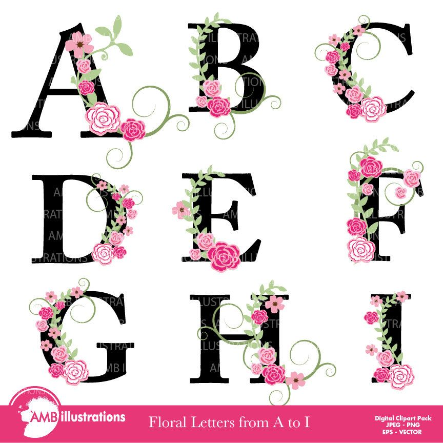 Download Library of alphabet with flowers svg library download png ...