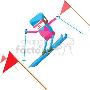 Alpine skier clipart banner freeuse library olympic alpine skier character illustration clipart. Royalty-free clipart #  398145 banner freeuse library