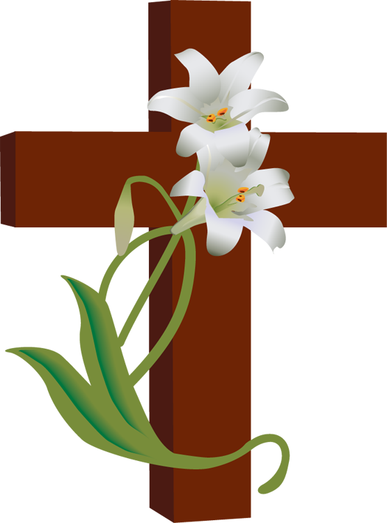 Cross with flower clipart