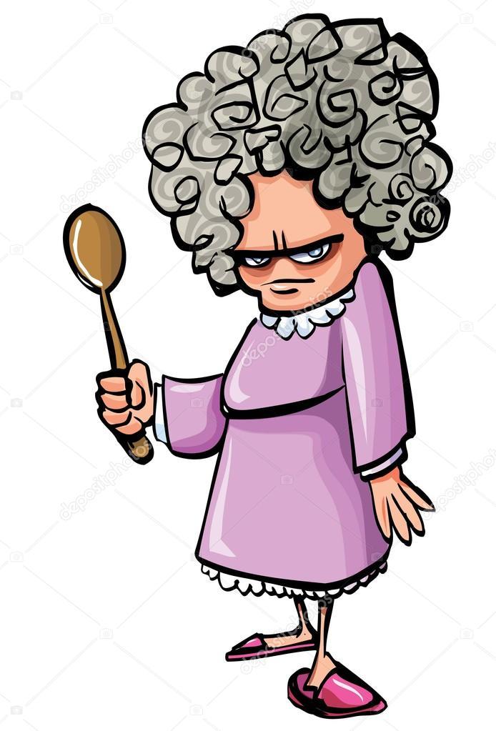 Cartoon böse alte Frau mit einem Holzlöffel — Stockvektor ... picture transparent stock