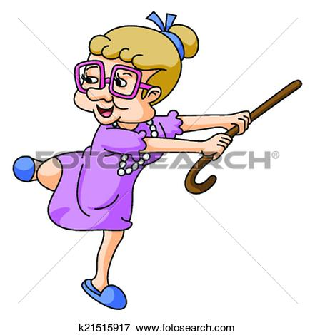 Clip Art of Healthy Old Woman k21515917 - Search Clipart ... graphic transparent download