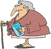 Stock Illustration of Old Woman With A Cane k5753359 - Search ... freeuse library