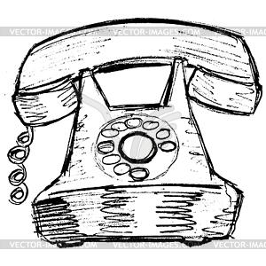 Altes telefon clipart jpg black and white Altes Telefon - vektorisierte Grafik jpg black and white