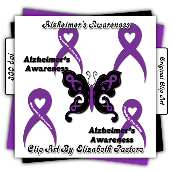 Altheimers border clipart image Alzheimer\'s Awareness clip art contains to ribbons one blank and one ... image