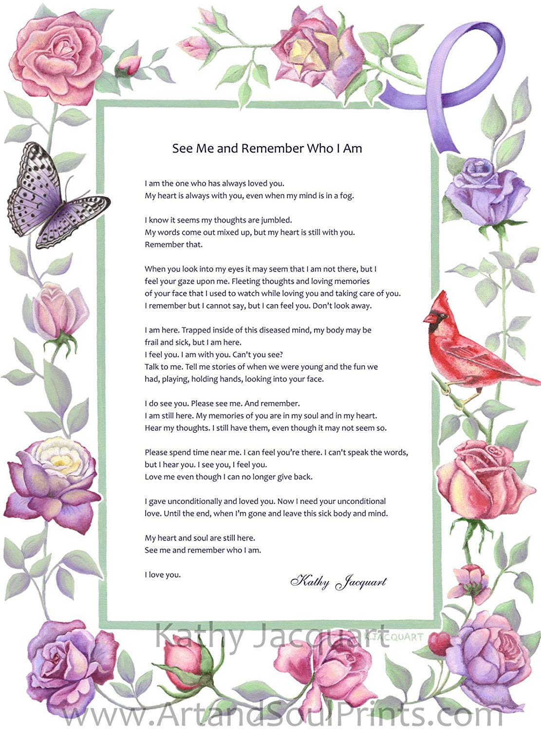 Altheimers border clipart svg royalty free download See Me and Remember Who I Am – Alzheimer\'s Poem by Kathy Jacquart – 12 x 16  Art Print Wall Poster – Print from original artwork in vivid color on ... svg royalty free download