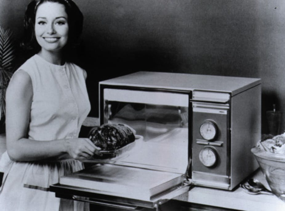 Amana radar range 1967 clipart vector black and white stock Hot food, fast: The home microwave oven turns 50 vector black and white stock
