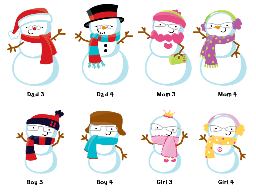 Snowflake with snowman face clipart vector free library Snowman Family with Snowflakes - Christmas Thank You Cards ... vector free library