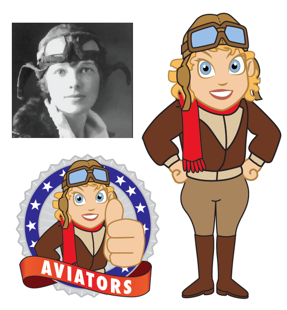 Amelia earhart clipart vector black and white Aviator Mascot Amelia Earhart Cartoon - Mascot Junction vector black and white