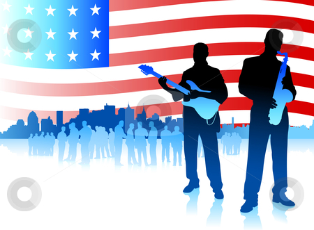 America music clipart png Music band on Patriotic American Flag background stock vector png