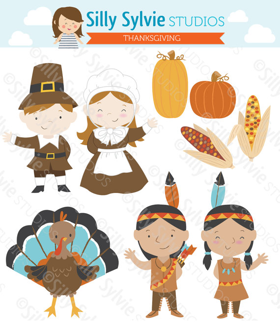 America thanksgiving clipart clipart free stock Thanksgiving Clip Art: Pilgrims, Turkey, Native American Indians ... clipart free stock