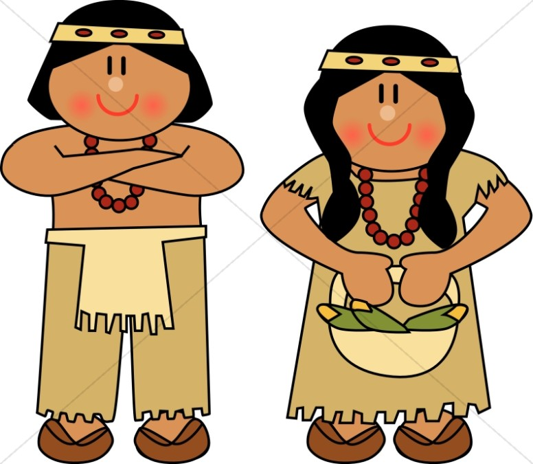Native american woman clipart jpg transparent Cute Native American Man and Woman | Thanksgiving Clipart jpg transparent