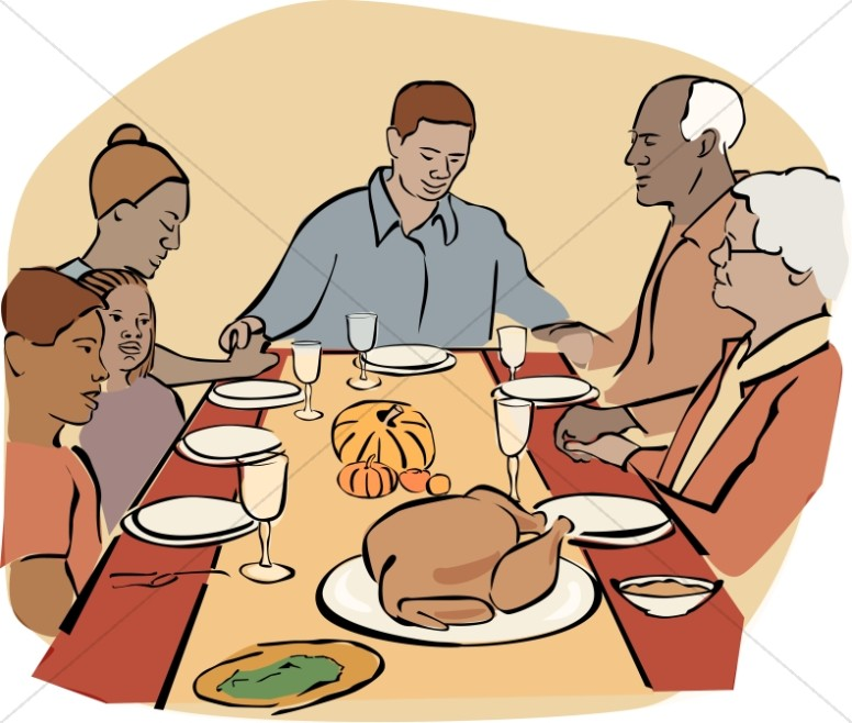 Black family dinner clipart graphic stock African American Family at Thanksgiving | Thanksgiving Clipart graphic stock
