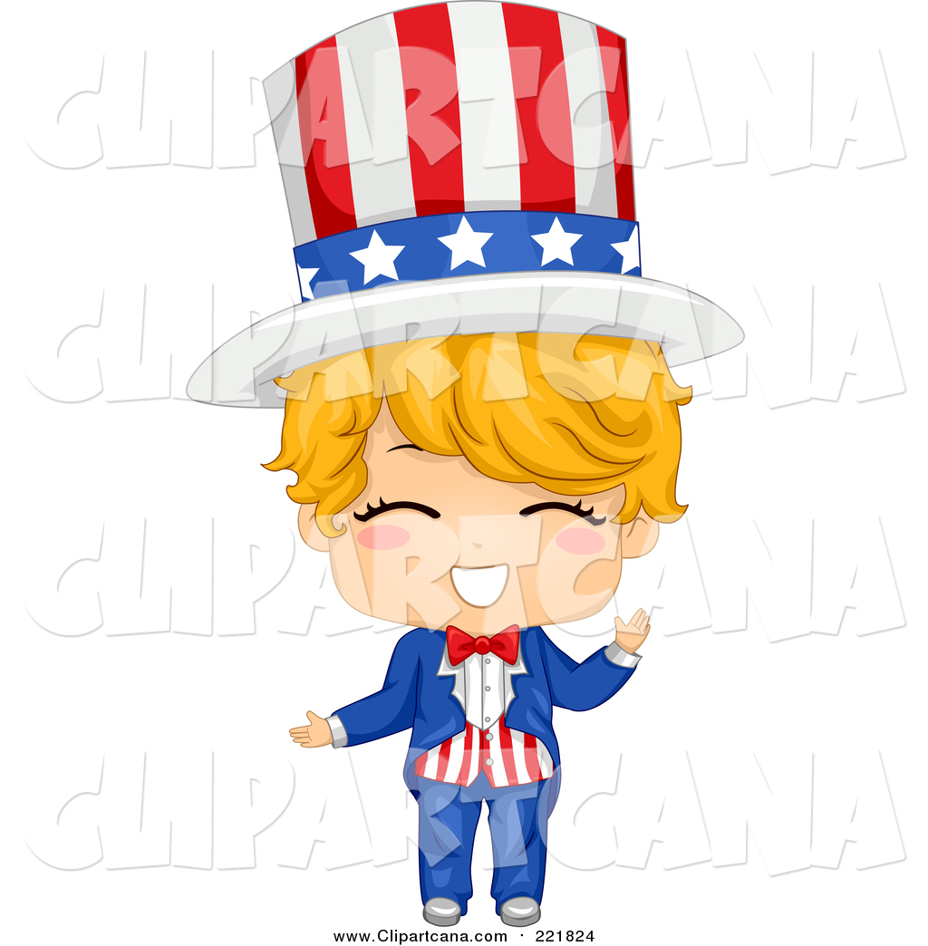 American boy clipart picture free stock Clip Art of a Happy Blond White American Boy in an Uncle Sam Costume ... picture free stock