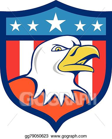 American crest clipart svg free Vector Stock - American bald eagle head angry flag crest cartoon ... svg free