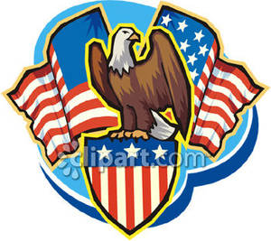 American crest clipart jpg transparent library A Bald Eagle Standing on a Stars and Stripes Crest with American ... jpg transparent library