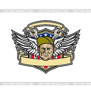American crew clipart clip art freeuse stock American Crew Chief Shield Mascot - stock vector clipart clip art freeuse stock