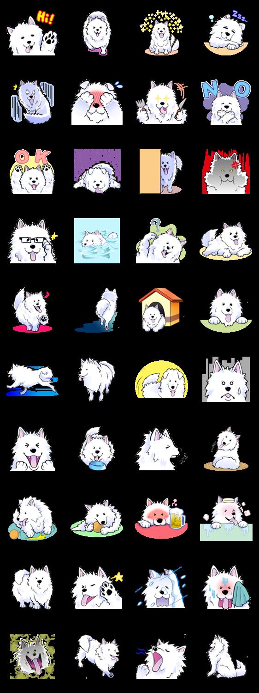 American eskimo dog clipart graphic free Developer: OSUSOWAKE || Sticker packet name: Stamp of Samoyed | LINE ... graphic free