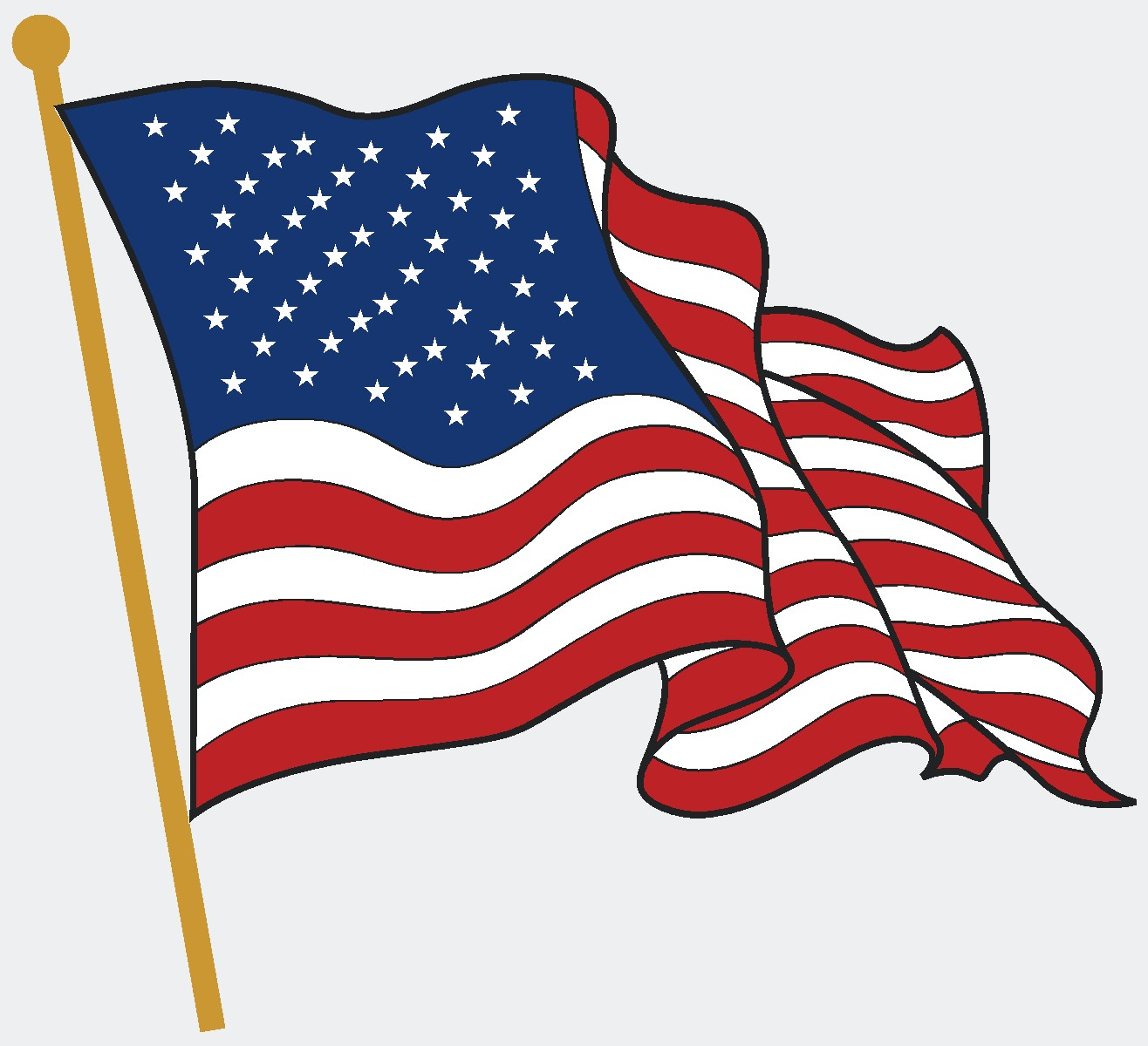 Waving american flag clipart picture free Waving American Flag Clipart | Free download best Waving American ... picture free