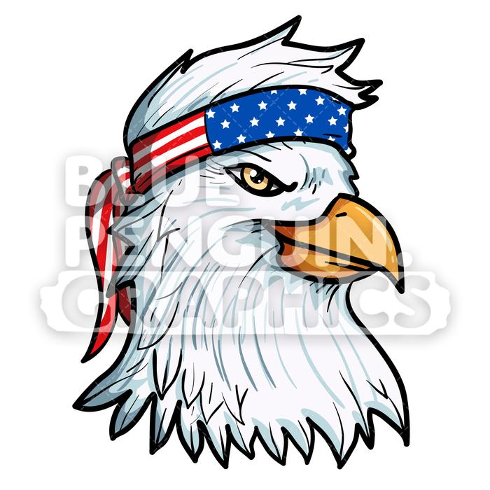 American flag bandana clipart svg free library Cool Eagle with American Flag Bandana Vector Cartoon Clipart svg free library