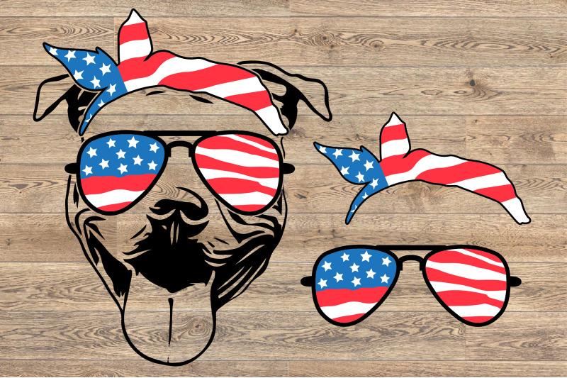 American flag bandana clipart svg royalty free library Pit bull USA Bandana Glasses United States Flag america 4th july ... svg royalty free library