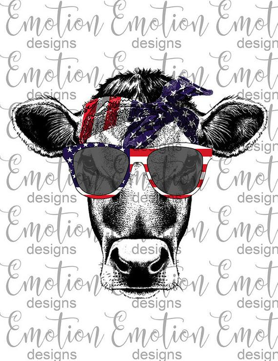 American flag bandana clipart picture freeuse download Heifer cow USA, American flag, bandana, sunglasses, PNG, patriotic ... picture freeuse download