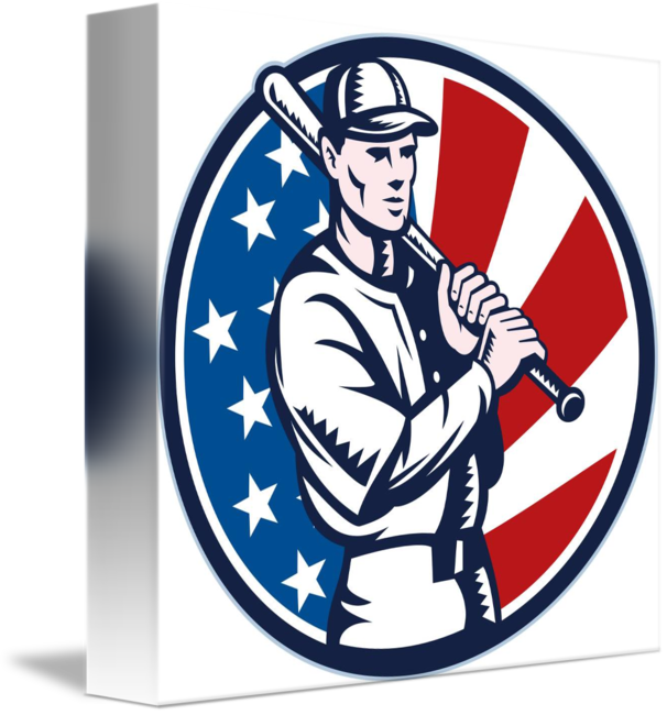 American flag baseball clipart clip library download Baseball player holding bat american flag by Aloysius Patrimonio clip library download