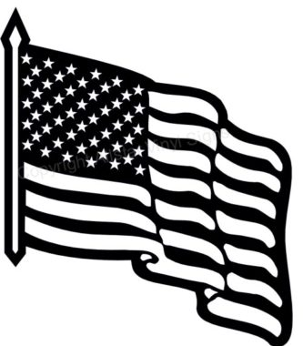 Waving american flag clipart black and white