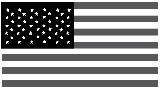 Usa flag black and white clipart