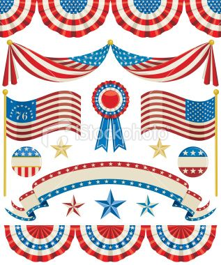 Patriotic bunting clipart clip art free Aged looking American Bunting, Flags, Ribbons, Stars, and Buttons ... clip art free