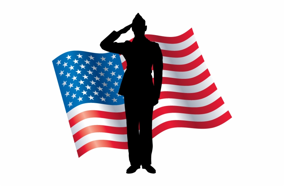 American flag clipart black and white s9m svg freeuse A Soldier In Front Of The American Flag Saluting - American Veteran ... svg freeuse