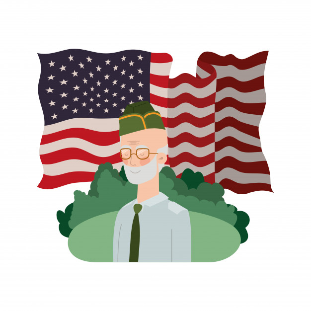 American flag clipart colorless banner free library Veteran war old man with landscape and united states flag Vector ... banner free library