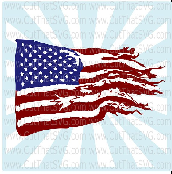American flag clipart torn