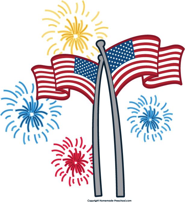 American flag fireworks clipart