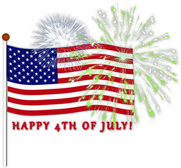 American flag with fireworks clipart
