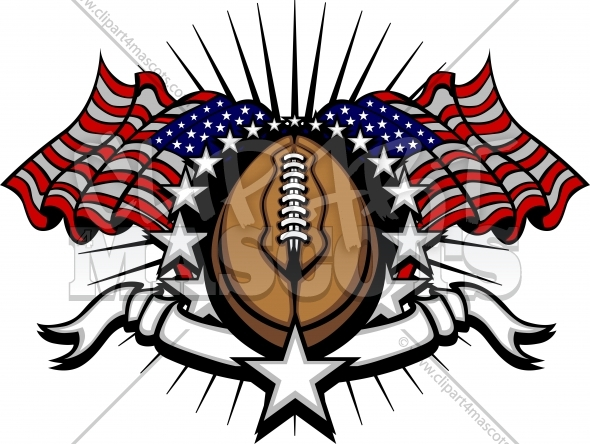 American flag football clipart