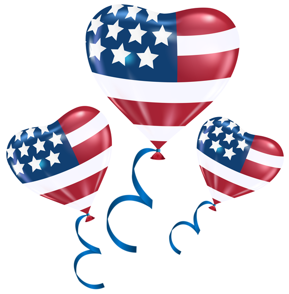 American flag heart clipart graphic freeuse USA Heart Balloons PNG Clip Art Image | HAPPY 4TH OF JULY ... graphic freeuse