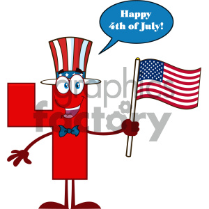 American flag red fish clipart image transparent download Patriotic Red Number Four Cartoon Mascot Character Wearing A USA Hat And  Waving An American Flag With Speech Bubble And Happy 4 Of July clipart. ... image transparent download