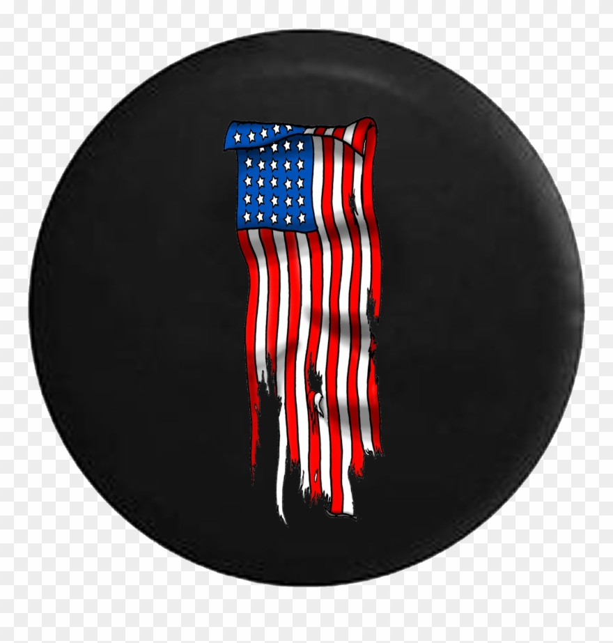 American flag vertical clipart image black and white library Vertical Tattered American Flag Jeep Camper Spare Tire - Jeep ... image black and white library