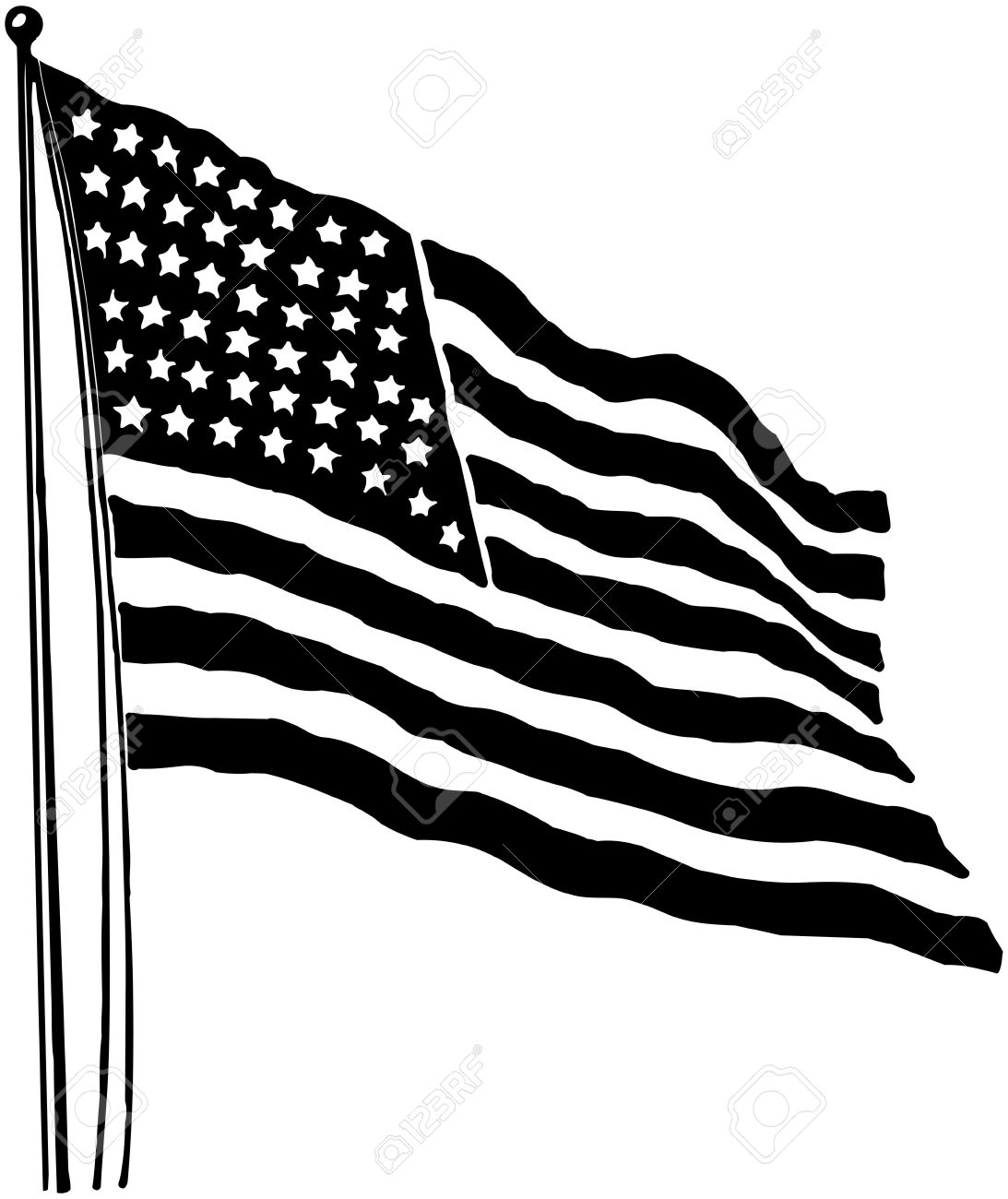 American flag waving black and white clipart graphic freeuse stock Us Flag Black And White | Free download best Us Flag Black And White ... graphic freeuse stock