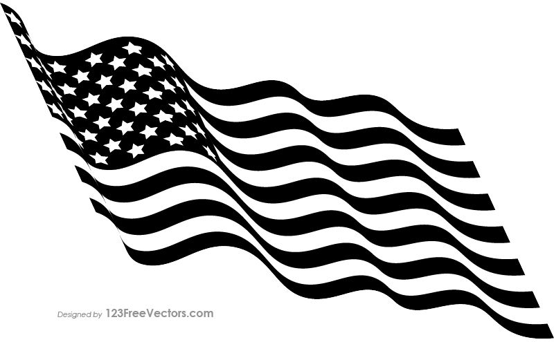 American flag waving black and white clipart banner black and white download Black and White Waving American Flag | USA Flags in 2019 | Flag ... banner black and white download
