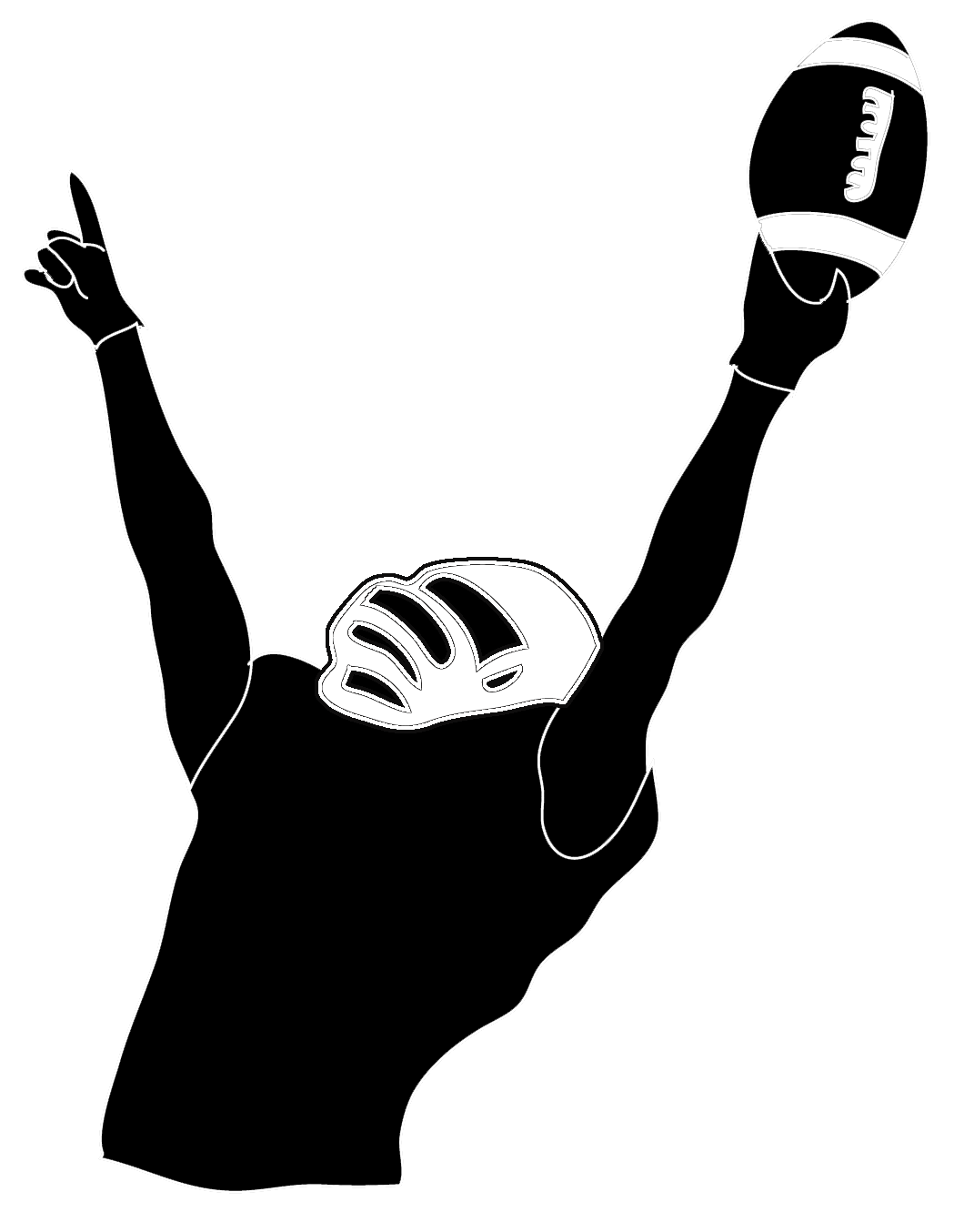 Kneeling football player clipart graphic black and white download Football player clipart 2 football player clip art black image 2 ... graphic black and white download