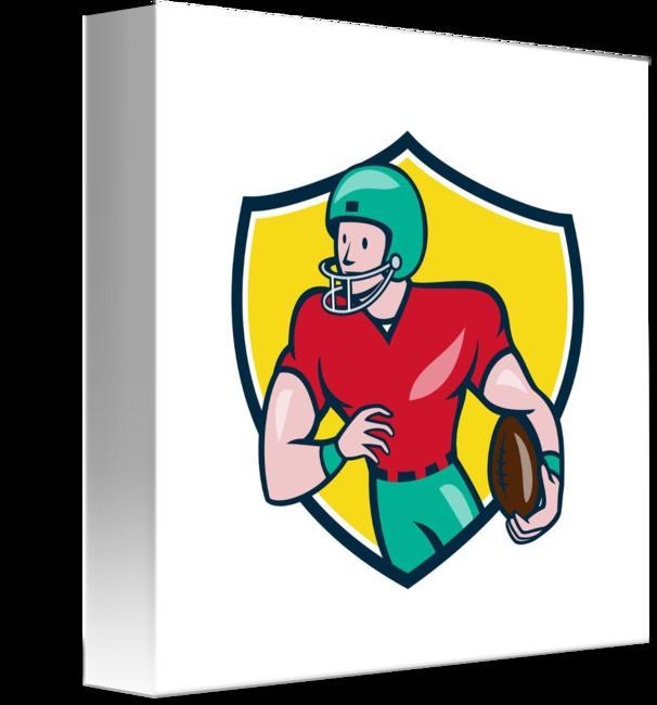 American football receiver art clipart black and white American Football Receiver Running Shield Cartoon by Aloysius Patrimonio black and white