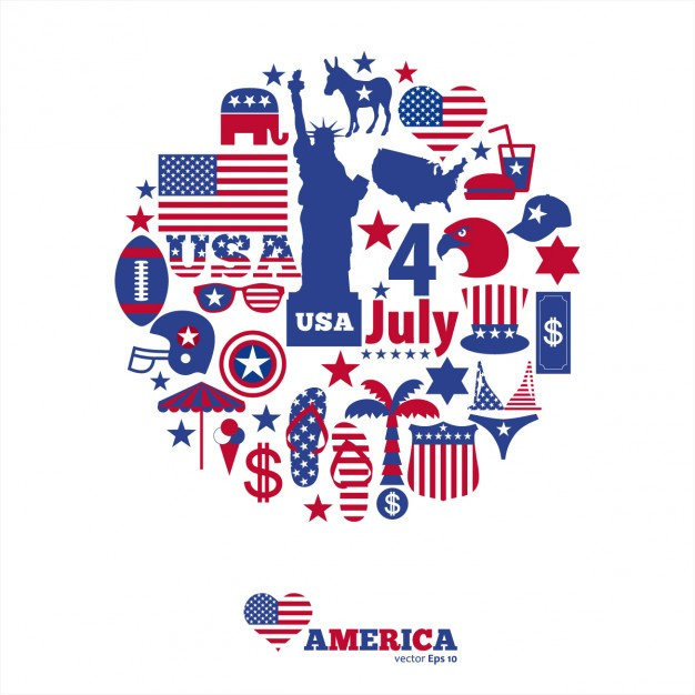 American icon clipart vector library library Background made up of american independence day elements Vector ... vector library library