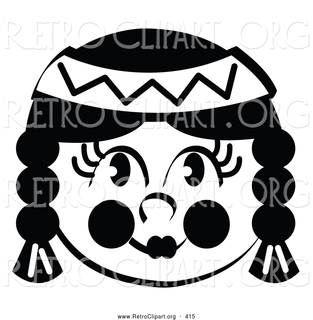 American indian girl black and white clipart free Retro Clipart of a Happy Smiling Native American Indian Girl by Andy ... free