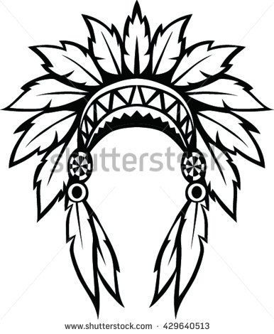 American indian headdress clipart clipart transparent library Indian Headdress Sketch at PaintingValley.com | Explore collection ... clipart transparent library